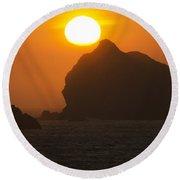 Crescent City Beach Sunset California Round Beach Towel