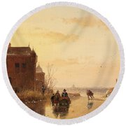 Winter Landscape With A Fort Round Beach Towel