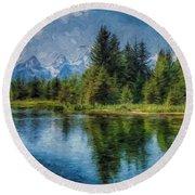 Wyoming Tetons Spruce Mountain Lake. Oil Painting . Round Beach Towel