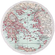 Map: Ancient Greece Round Beach Towel
