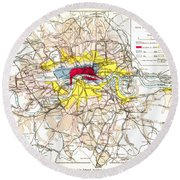Map Of London, 1881 Round Beach Towel