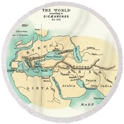 World Map, C300 B.c Round Beach Towel