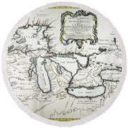Great Lakes Map, 1755 Round Beach Towel