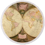 Captain Cook: Map, 1808 Round Beach Towel