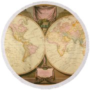 Captain Cook: Map, 1808 Round Beach Towel