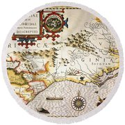 Map: Colonial America, Round Beach Towel