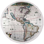New World Map, 1616 Round Beach Towel