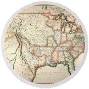 Map: United States, 1820 Round Beach Towel