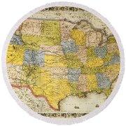 United States Map, 1866 Round Beach Towel