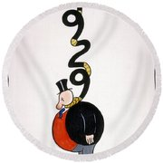 Depression Cartoon Round Beach Towel