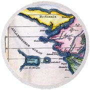 Atlantis: Map, 1831 Round Beach Towel