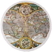 World Map, 1607 Round Beach Towel