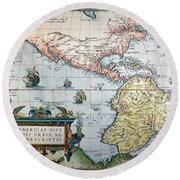 New World Map, 1570 Round Beach Towel