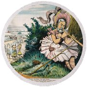 James Blaine Cartoon, 1884 Round Beach Towel
