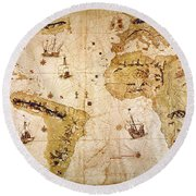 Vespucci's World Map, 1526 Round Beach Towel