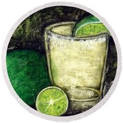 Tequila With Salt And Lime Round Beach Towel