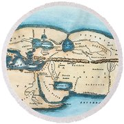 Strabo World Map, C20 A.d Round Beach Towel