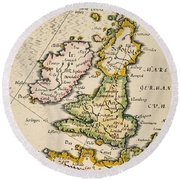 Map Of Great Britain, 1623 Round Beach Towel