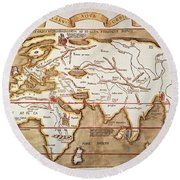 Waldseemuller: World Map Round Beach Towel