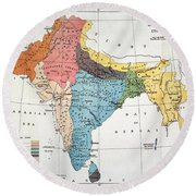 India: Map, 19th Century Round Beach Towel