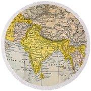 Asia Map, 19th Century Round Beach Towel