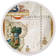 Brazil: Map And Native Indians Round Beach Towel