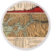 Card: Panama Canal, 1914 Round Beach Towel
