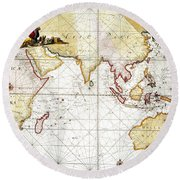 Indian Ocean: Map, 1705 Round Beach Towel