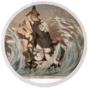 Beecher Cartoon, 1885 Round Beach Towel