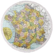 Map Of France, C1900 Round Beach Towel