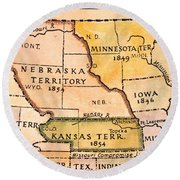 Kansas-nebraska Map, 1854 Round Beach Towel