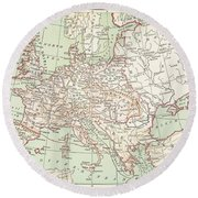 Map Of Europe, C1812 Round Beach Towel