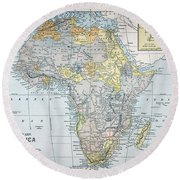 Map: Africa, 19th Century Round Beach Towel