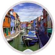 0045 Burano Colors 2 Round Beach Towel