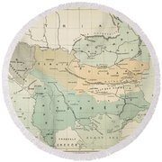 Balkan Map, 1885 Round Beach Towel