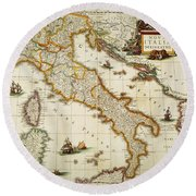 Map Of Italy, 1631 Round Beach Towel