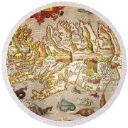 Iceland: Map, 1595 Round Beach Towel