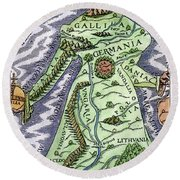 Europe As A Queen, 1588 Round Beach Towel