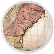 Colonial America Map, 1733 Round Beach Towel