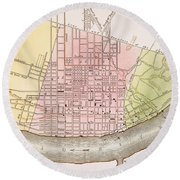 Cincinnati, Ohio, 1837 Round Beach Towel