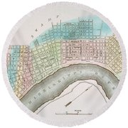 New Orleans Map, 1837 Round Beach Towel