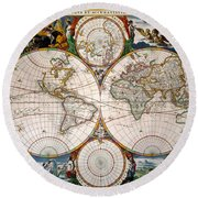 World Map, 17th Century Round Beach Towel