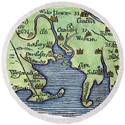 New England Map 1677 Round Beach Towel