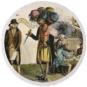 Cartoon: French War, 1798 Round Beach Towel