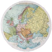 Map: Europe, 1885 Round Beach Towel
