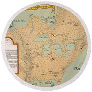Jolliet: North America 1674 Round Beach Towel