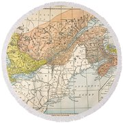 Map: Eastern Canada Round Beach Towel