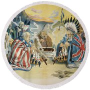 G. Cleveland Cartoon, 1896 Round Beach Towel