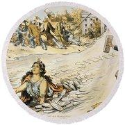 Free Silver Cartoon, 1890 Round Beach Towel