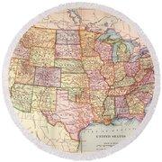 Map: United States, 1905 Round Beach Towel